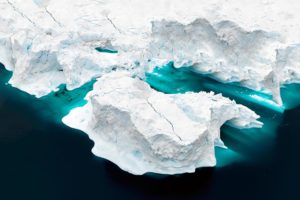 Aerial view of icebergs on Arctic Ocean in Greenland 1